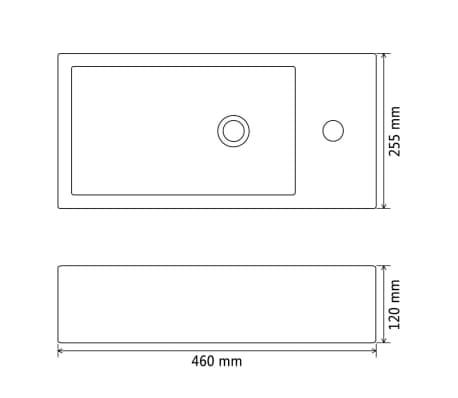 vidaXL Handfat med kranhål keramik rektangulär svart 46x25,5x12 cm[6/6]