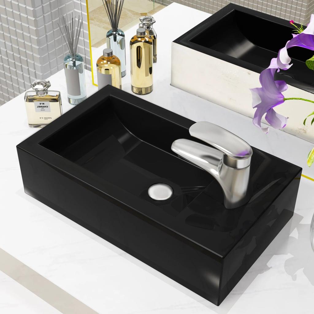 vidaXL Chiuvetă cu orificiu robinet, negru, 46x25,5x12, ceramică imagine vidaxl.ro