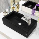 vidaXL håndvask med vandhanehul rektangulær keramik sort 46 x 25,5 x 12 cm