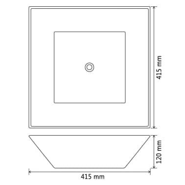 vidaXL Lavabo cuadrado de cerámica negro 41,5x41,5x12 cm[6/6]