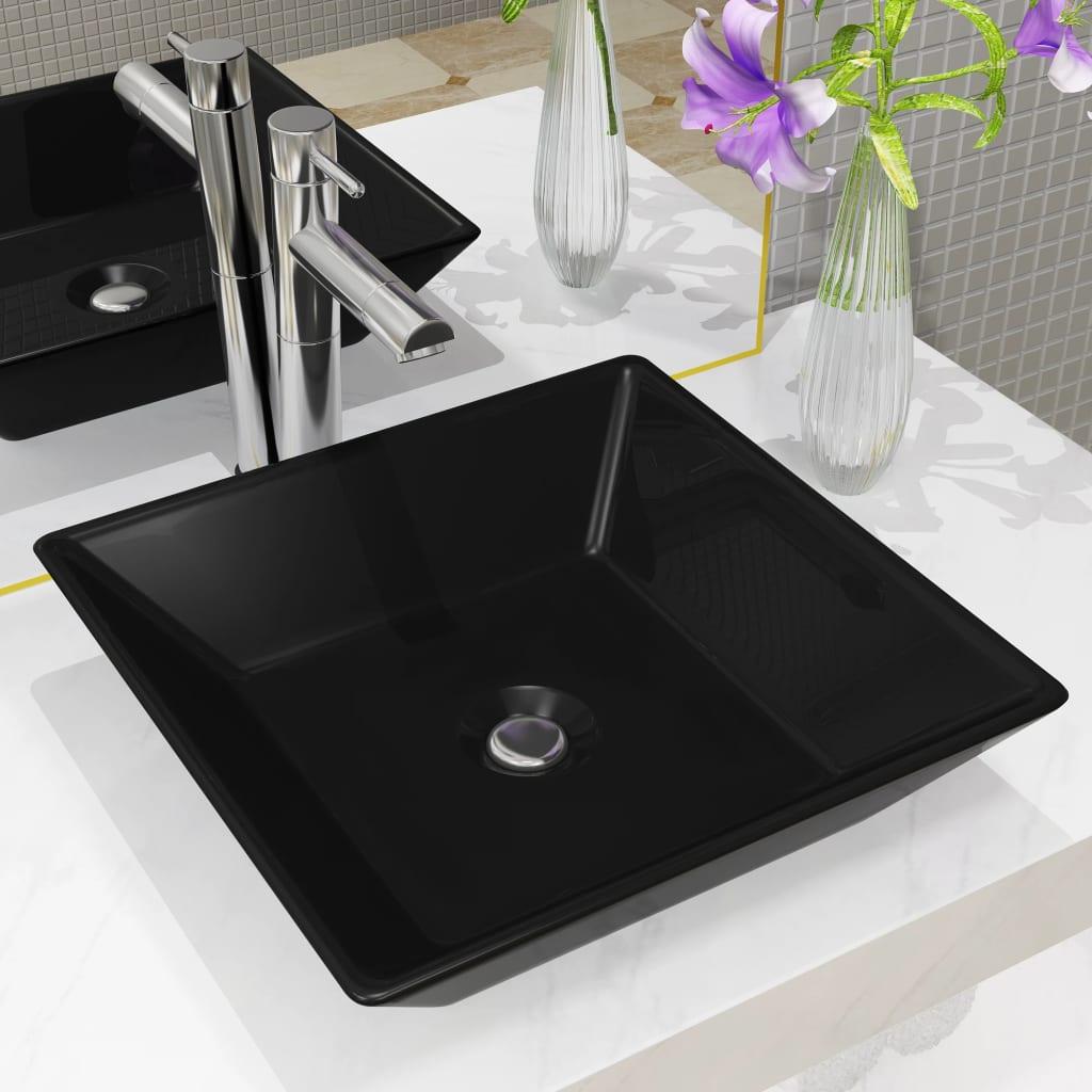 vidaXL Keramické umyvadlo čtvercové černé 41,5 x 41,5 x 12 cm