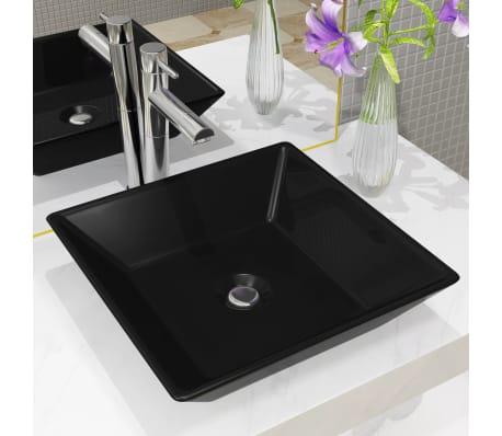 vidaXL Handfat keramik fyrkantig svart 41,5x41,5x12 cm[1/6]