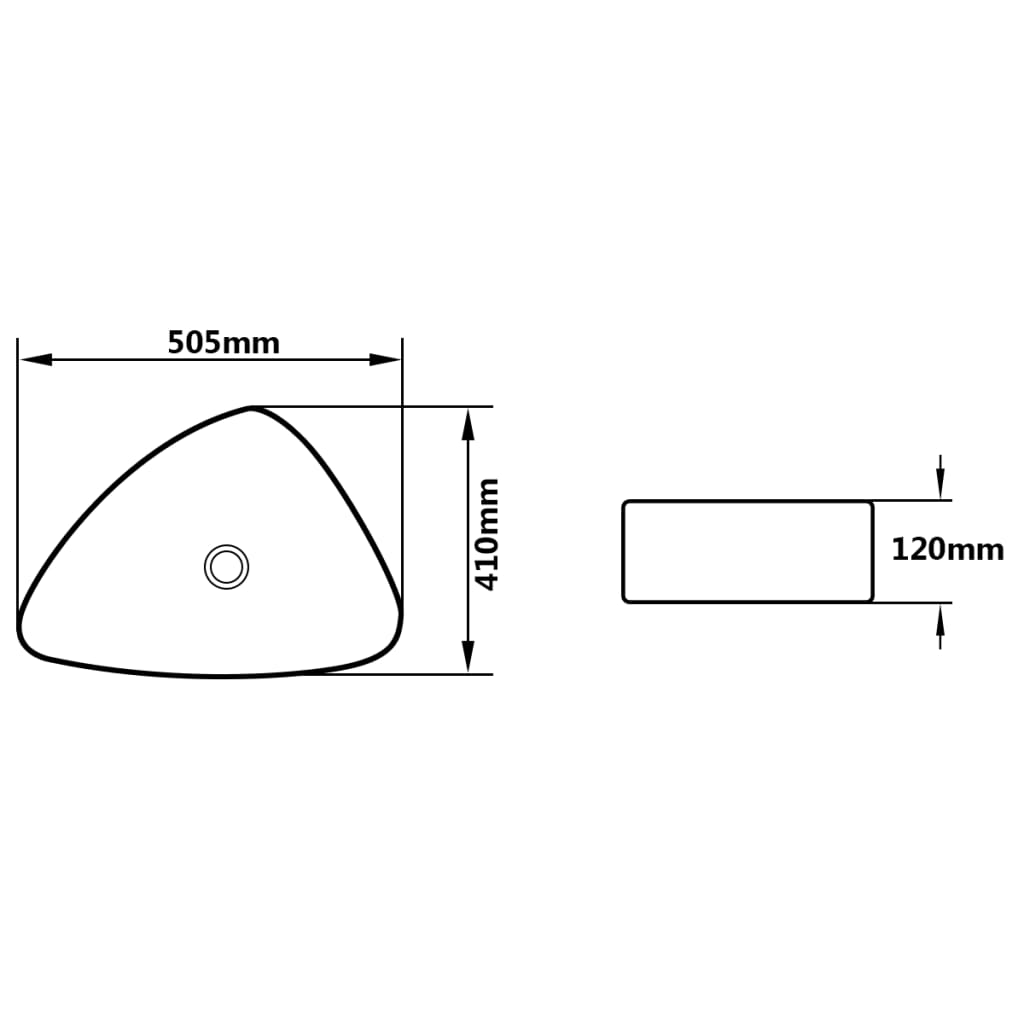 vidaXL Wastafel driehoekig 50,5x41x12 cm keramiek zwart