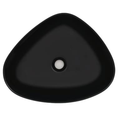 vidaXL Lavabo triangular de cerámica negro 50,5x41x12 cm[3/5]