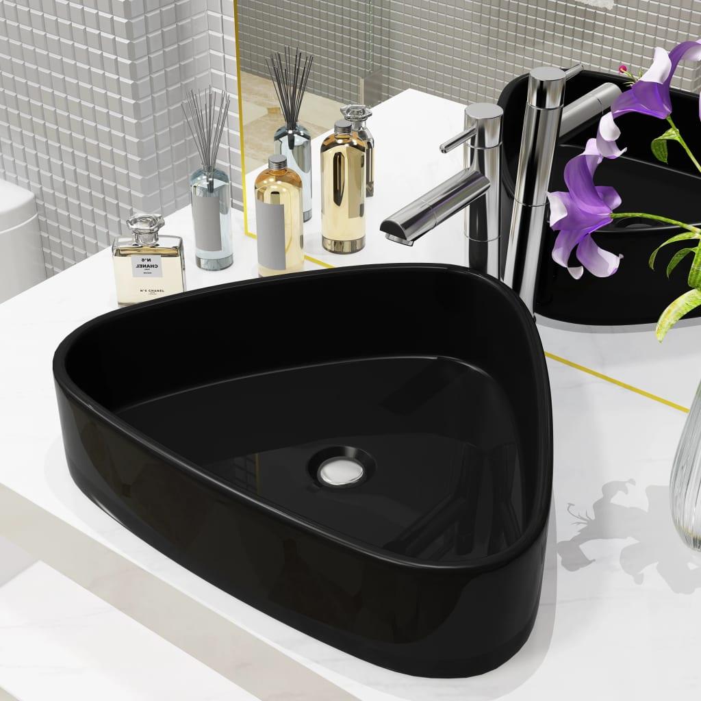 vidaXL Chiuvetă de baie, negru, 50,5x41x12 cm, ceramică, triunghiular vidaxl.ro