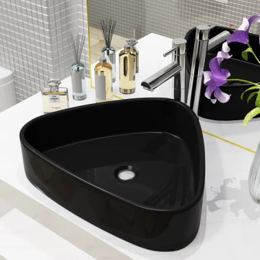 vidaXL Lavabo triangular de cerámica negro 50,5x41x12 cm[1/5]