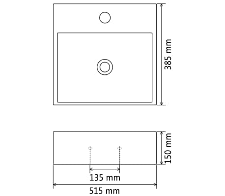 vidaXL Lavabo con orificio para grifo cerámica negro 51,5x38,5x15 cm[5/5]
