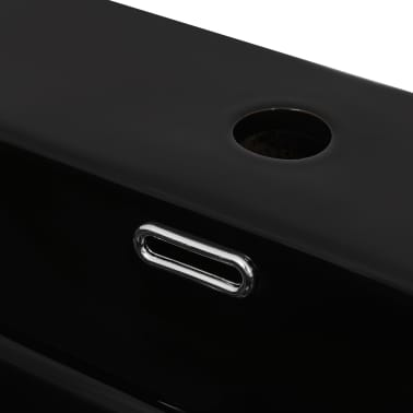 vidaXL Lavabo con orificio para grifo cerámica negro 51,5x38,5x15 cm[4/5]