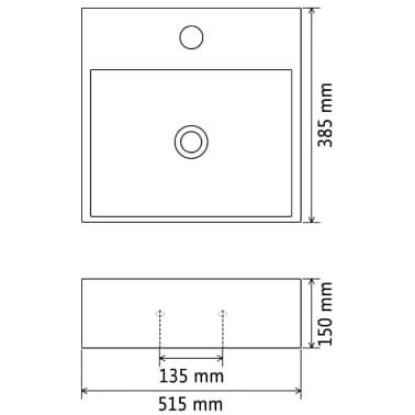 vidaXL Waschbecken mit Hahnloch Keramik Schwarz 51,5 x 38,5 x 15 cm[5/5]
