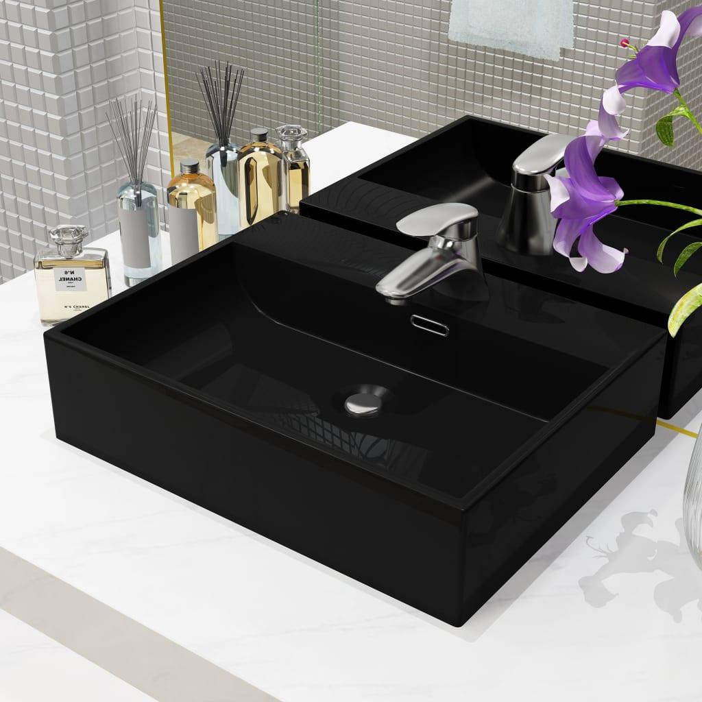 vidaXL Chiuvetă cu orificiu robinet, ceramică, 51,5x38,5x15 cm, negru imagine vidaxl.ro