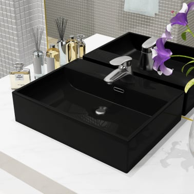 vidaXL Lavabo con orificio para grifo cerámica negro 51,5x38,5x15 cm[1/5]