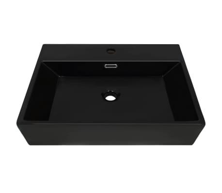 vidaXL Handfat med kranhål keramik vit 60,5x42,5x14,5 cm[3/5]
