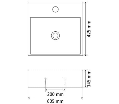 vidaXL Handfat med kranhål keramik vit 60,5x42,5x14,5 cm[5/5]