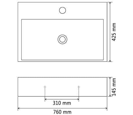 vidaXL Lavabo con orificio para grifo cerámica 76x42,5x14,5 cm negro[5/5]