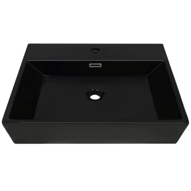 vidaXL Lavabo con orificio para grifo cerámica 76x42,5x14,5 cm negro[3/5]