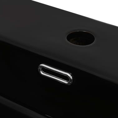 vidaXL Lavabo con orificio para grifo cerámica 76x42,5x14,5 cm negro[4/5]