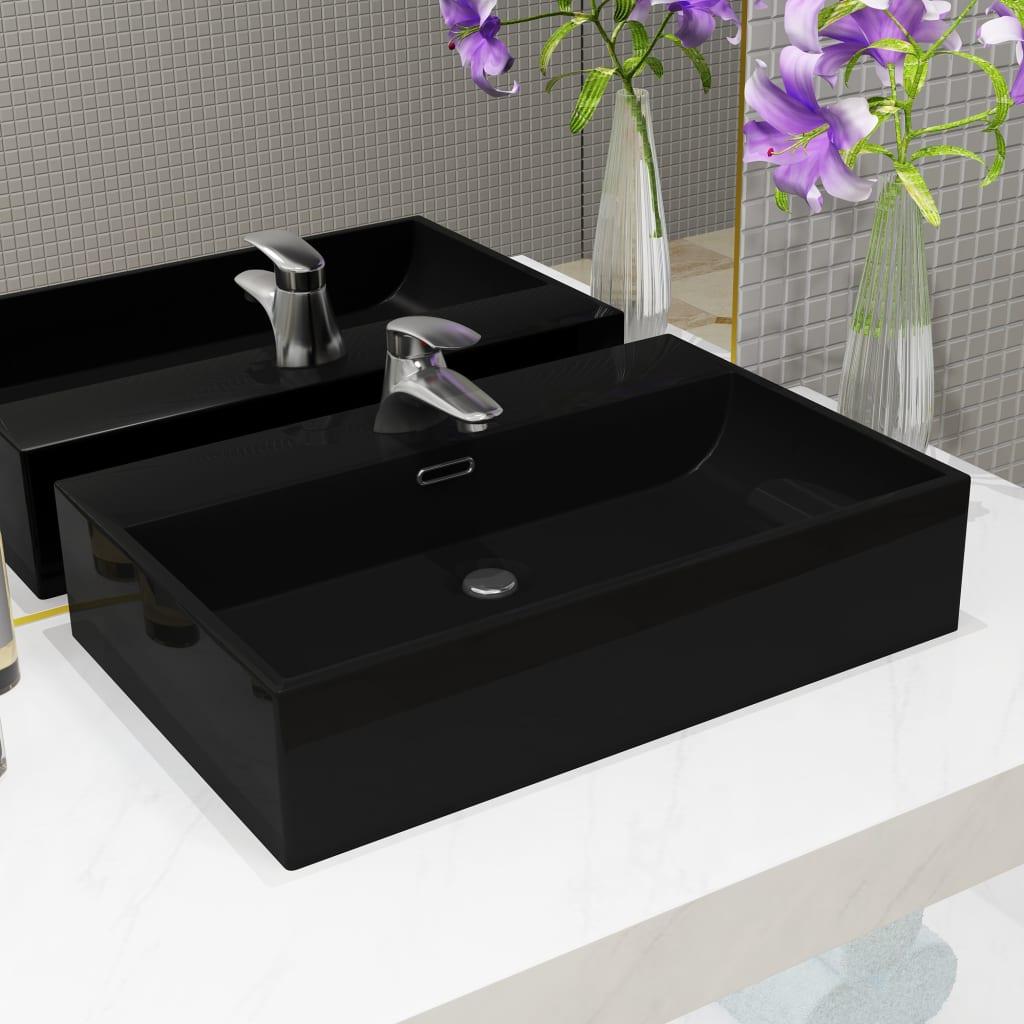 vidaXL Chiuvetă baie, orificiu robinet, ceramică 76x42,5x14,5 cm negru poza vidaxl.ro