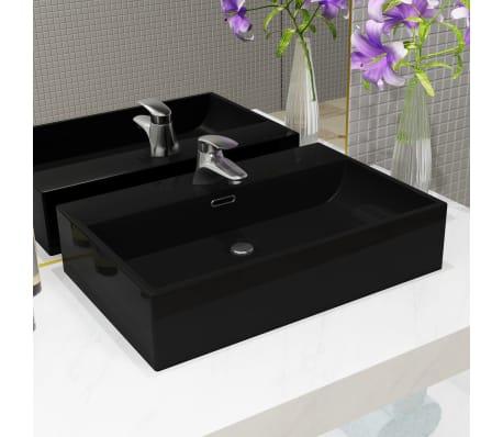 vidaXL Lavabo con orificio para grifo cerámica 76x42,5x14,5 cm negro[1/5]