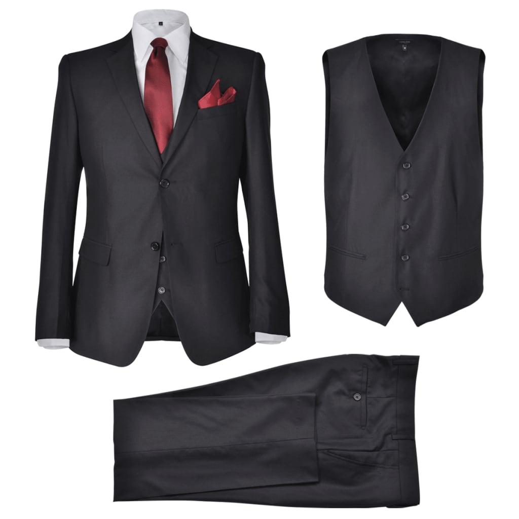 vida XL Pánský třídílný business oblek černý vel. 56