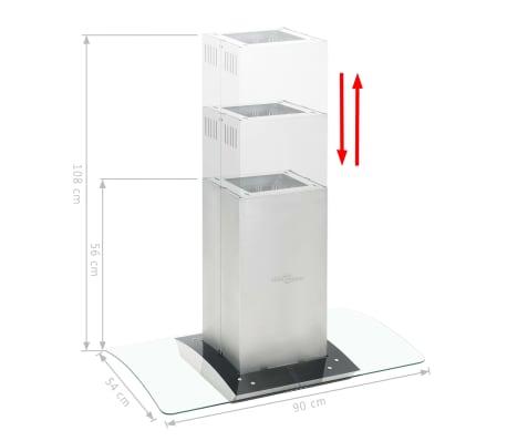 Vidaxl campana extractora de techo 90 cm acero inoxidable 756 m h led - Campana extractora 90 cm ...