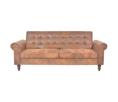 acheter vidaxl canap lit convertible avec accoudoir daim synth tique marron pas cher. Black Bedroom Furniture Sets. Home Design Ideas