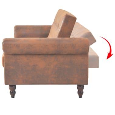 vidaXL Canapea extensibilă cu brațe, velur artificial, maro[4/10]