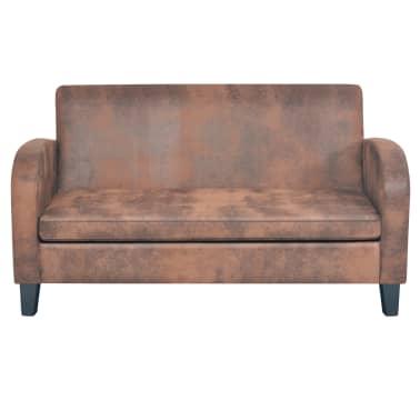 vidaXL Dvivietė sofa, dirbtinė zomšos oda, ruda[2/8]