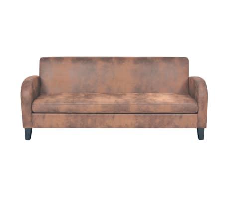 vidaXL Trivietė sofa, dirbtinė zomšos oda, ruda[2/8]