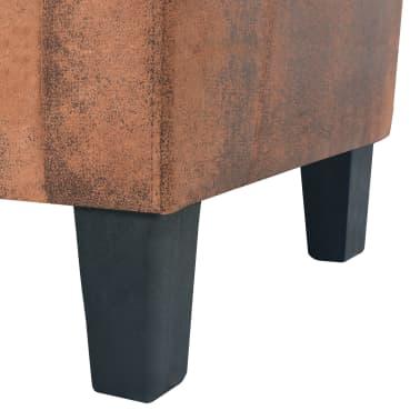 vidaXL Trivietė sofa, dirbtinė zomšos oda, ruda[6/8]