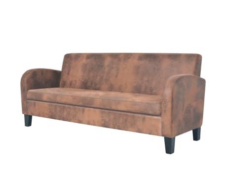 vidaxl 3 sitzer sofa kunstleder wildleder optik braun g nstig kaufen. Black Bedroom Furniture Sets. Home Design Ideas