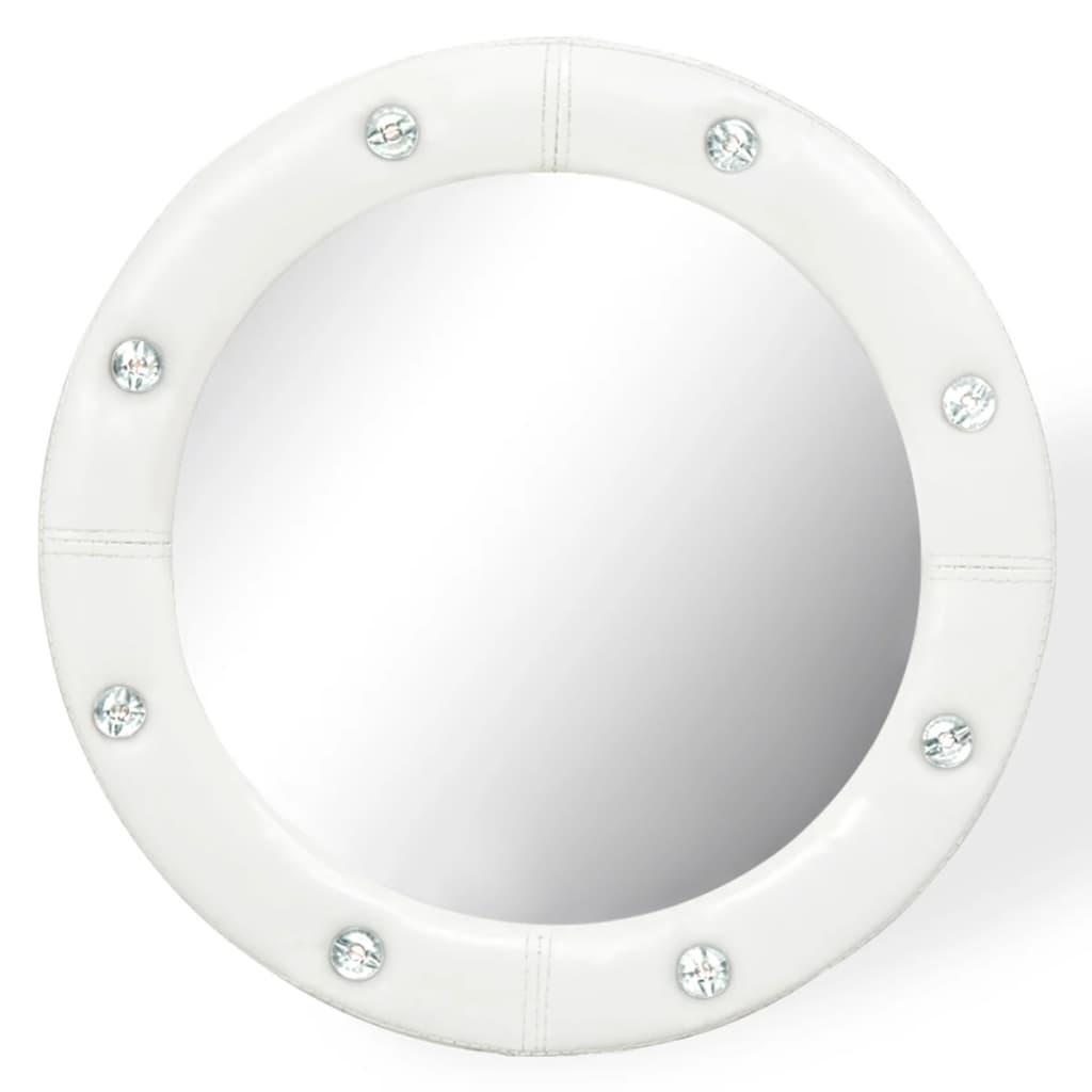 vidaXL Nástěnné zrcadlo z umělé kůže 40 cm lesklé bílé