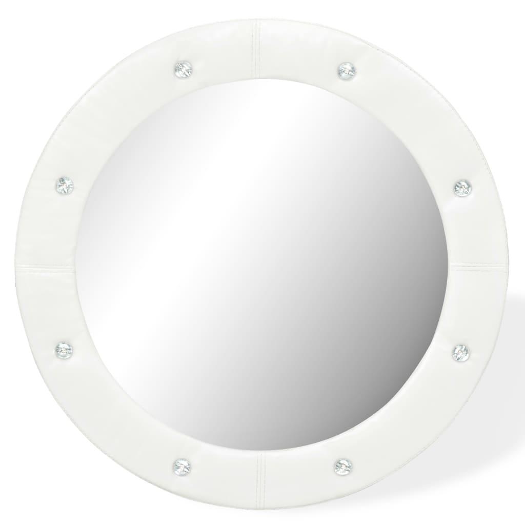 vidaXL Nástěnné zrcadlo z umělé kůže 60 cm lesklé bílé