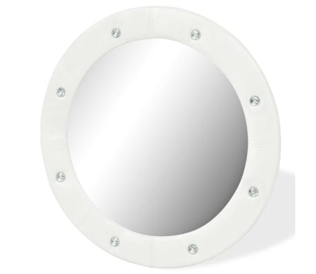 vidaXL Wall Mirror Artificial Leather 60 cm Glossy White[3/5]