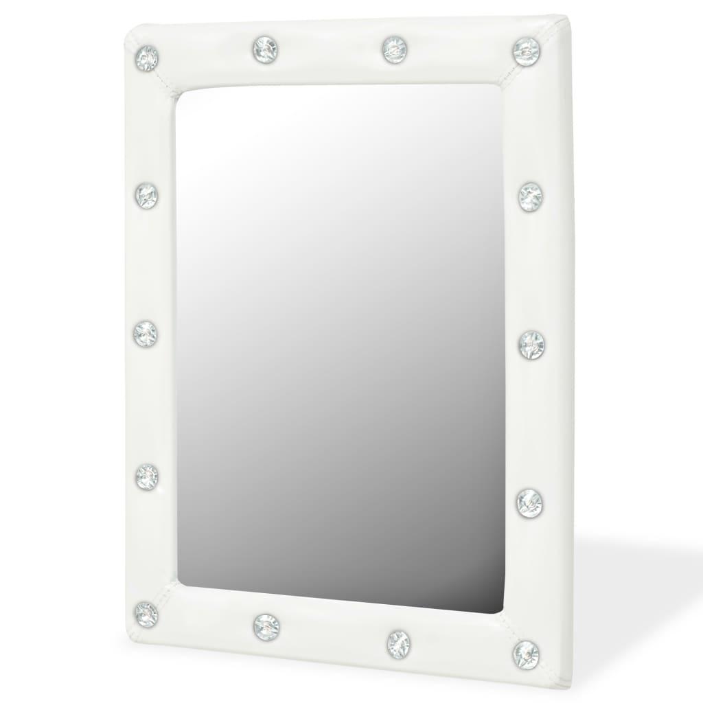 vidaXL Oglindă de perete, piele artificială, 40x50 cm, alb lucios poza vidaxl.ro
