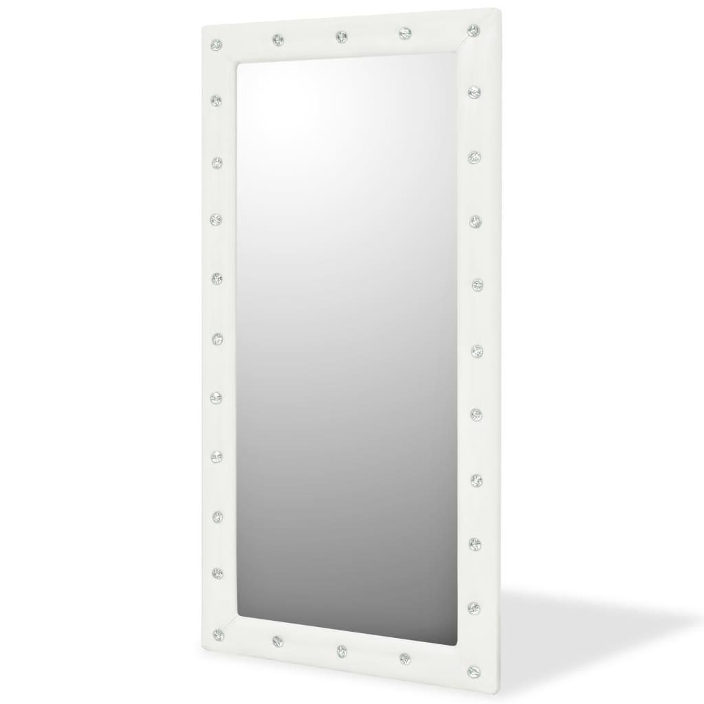 vidaXL Nástěnné zrcadlo z umělé kůže, 60 x 120 cm, lesklé bílé