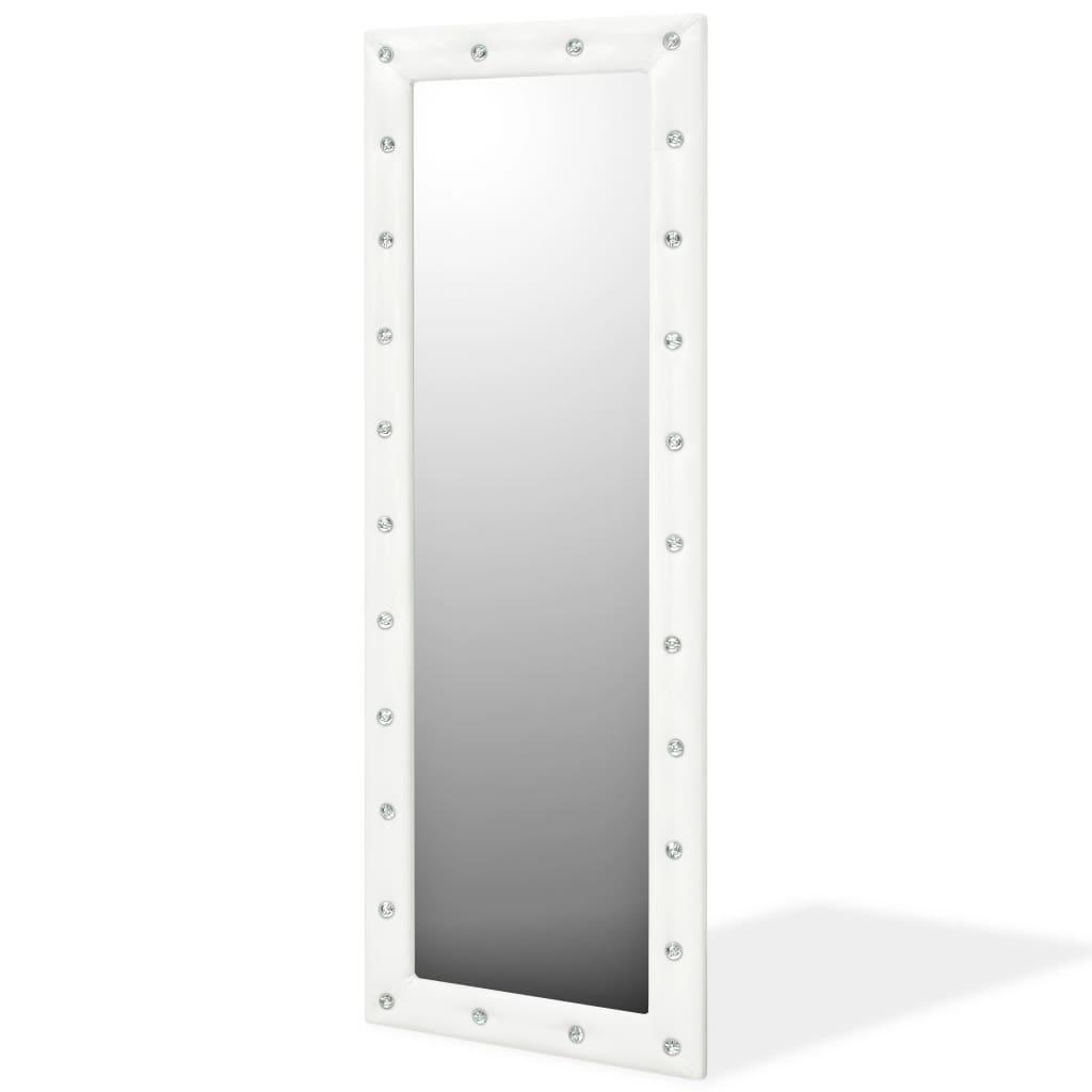 vidaXL Nástěnné zrcadlo z umělé kůže, 50 x 140 cm, lesklé bílé