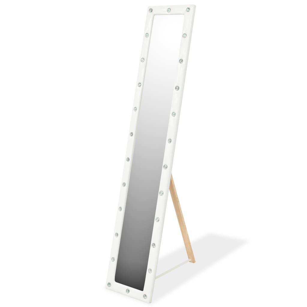 vidaXL Oglindă de podea, piele artificială, 30 x 150 cm, alb lucios imagine vidaxl.ro