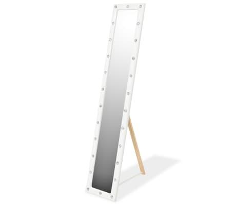 vidaXL Samostoječe ogledalo umetno usnje 30x150 cm sijoče bele barve[1/6]