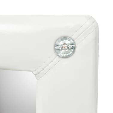 vidaXL Samostoječe ogledalo umetno usnje 30x150 cm sijoče bele barve[6/6]