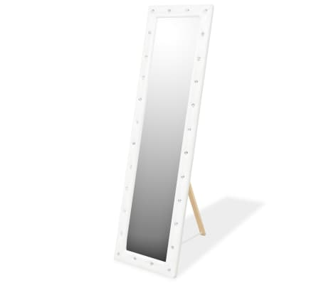 vidaXL Freestanding Mirror Artificial Leather 45x150 cm Glossy White[1/6]