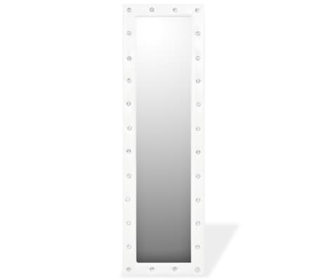vidaXL Freestanding Mirror Artificial Leather 45x150 cm Glossy White[3/6]