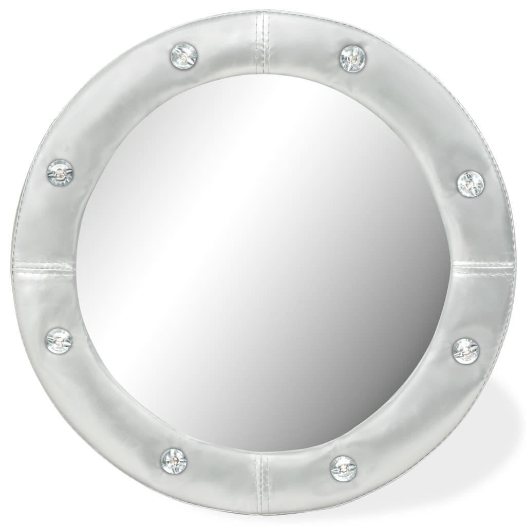 vidaXL Nástěnné zrcadlo z umělé kůže, 40 cm, lesklé stříbrné