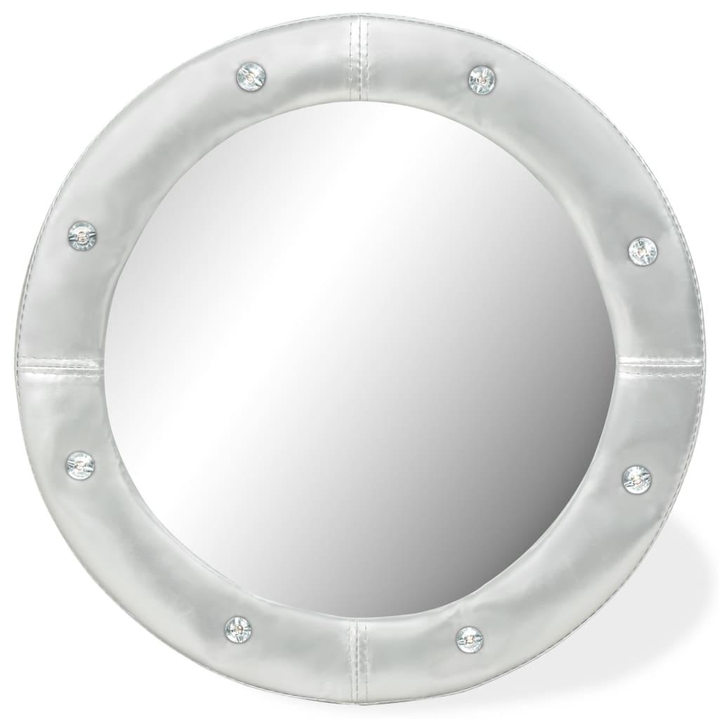 vidaXL Nástěnné zrcadlo z umělé kůže 60 cm lesklé stříbrné