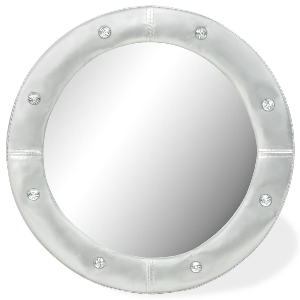 vidaXL Lustro ścienne, sztuczna skóra, 60 cm, błyszczące srebro