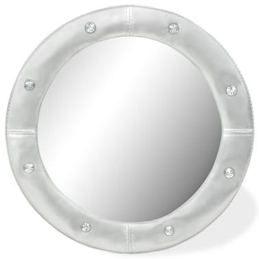 vidaXL Wall Mirror Artificial Leather 60 cm Glossy Silver[1/4]