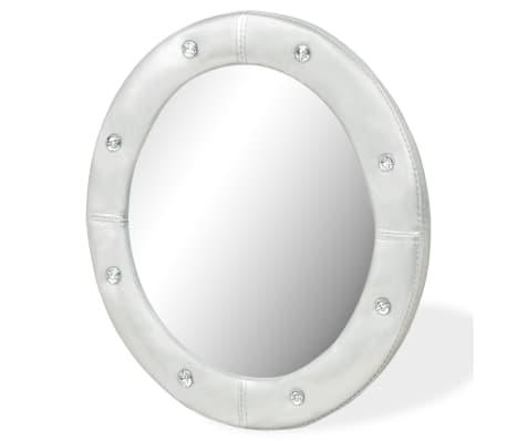vidaXL Wall Mirror Artificial Leather 60 cm Glossy Silver[2/4]