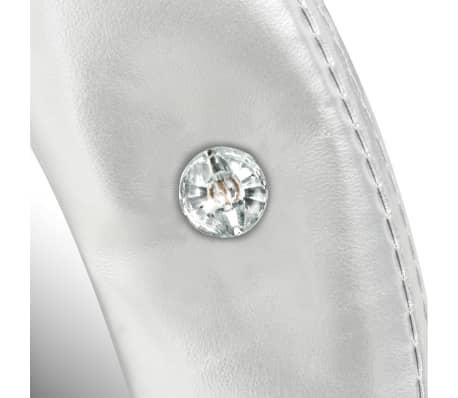 vidaXL Wall Mirror Artificial Leather 60 cm Glossy Silver[4/4]