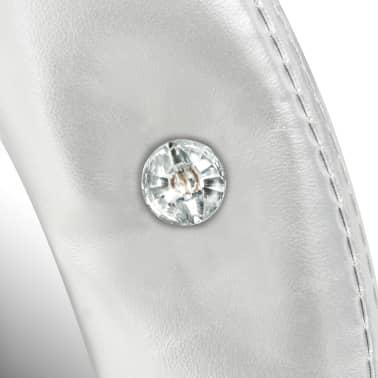 vidaXL Väggspegel konstläder blank silver 60 cm[4/4]