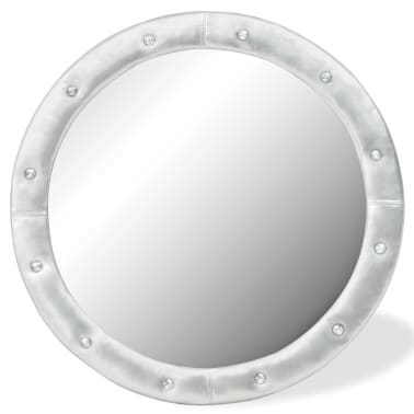 vidaXL Wall Mirror Artificial Leather 80 cm Glossy Silver[1/4]