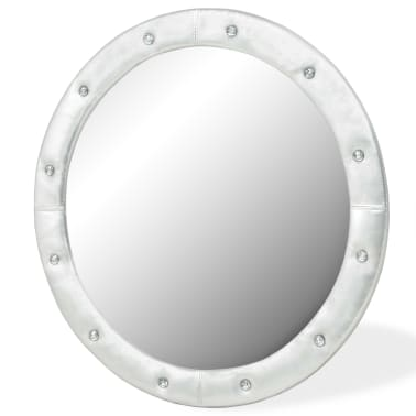 vidaXL Wall Mirror Artificial Leather 80 cm Glossy Silver[2/4]